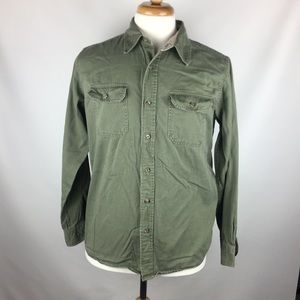 Wrangler Authentic Button Front Green Shirt Medium